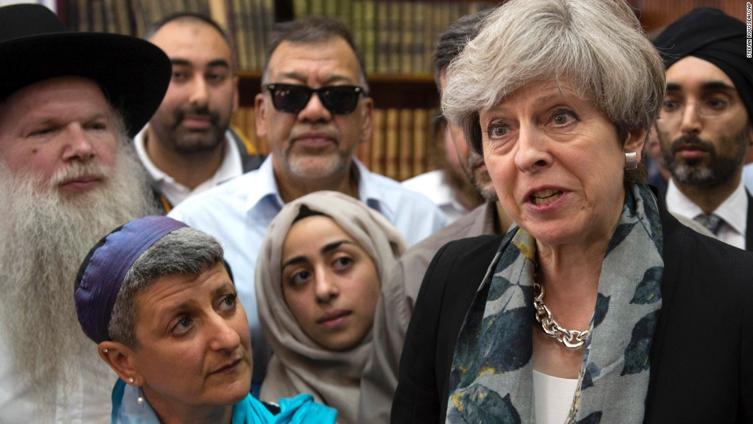 "British Prime Minister Theresa May talks to faith leaders at the Finsbury Park Mosque in London on Monday, June 19. Earlier in the day, a van plowed into a crowd of Muslims leaving Ramadan prayers. <a href=""http://www.cnn.com/2017/06/22/europe/finsbury-park-attack-death/index.html"" target=""_blank"">One man was killed</a> and nine were injured."