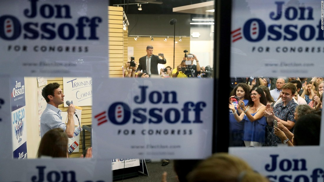 "Democrat Jon Ossoff speaks to supporters in Roswell, Georgia, on Monday, June 19.<a href=""http://www.cnn.com/2017/06/20/politics/georgia-house-results-ossoff-handel/index.html"" target=""_blank""> The congressional candidate lost a special election</a> to Karen Handel the next day."
