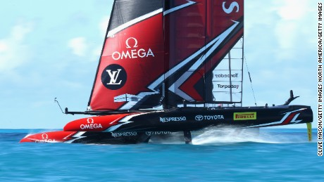 HAMILTON, BERMUDA - JUNE 15:  Emirates Team New Zealand skippered by Peter Burling in action during a training session ahead of the Americas Cup Match Presented by Louis Vuitton on June 15, 2017 in Hamilton, Bermuda.  (Photo by Clive Mason/Getty Images)