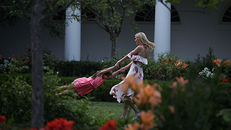 WASHINGTON, DC - JUNE 22:  Ivanka Trump (R), daughter and assistant to President Donald Trump, plays with her daughter Arabella Rose Kushner (L) in the Rose Garden during during a Congressional Picnic on the South Lawn of the White House June 22, 2017 in Washington, DC. President Trump and the first lady hosted their first Congressional Picnic with the theme, Picnic in the Park, which is Òmodeled after a summer evening in Central Park in New York.ÓÊ  (Photo by Alex Wong/Getty Images)  Alex Wong/Getty Images