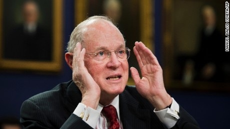 Supreme Court Associate Justices Anthony Kennedy testifies on Capitol Hill in Washington, Monday, March 23, 2015, before a House Committee on Appropriations subcommittee on Financial Services hearing to review the Supreme Court's fiscal 2016 budget request.