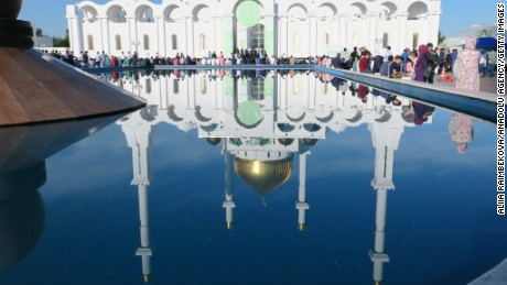 A view of Nur-Astana Mosque as Muslims gather to perform the Eid al-Fitr prayer at Nur-Astana Mosque in Astana, Kazakhstan on June 25, 2017.