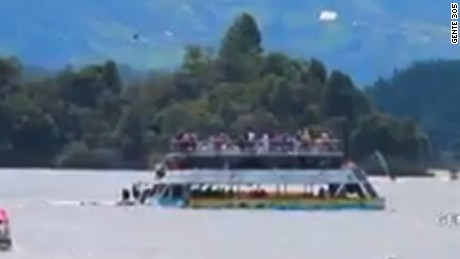 Tourist boat sinks in reservoir near Guatape, Colombia.