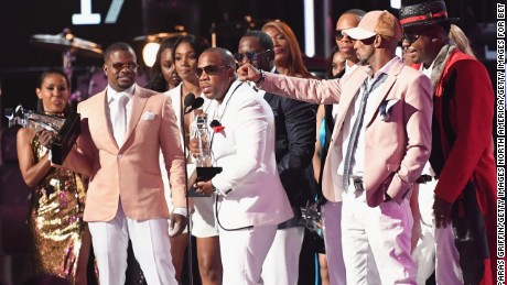 Ricky Bell, Bobby Brown, Johnny Gill, Ronnie DeVoe, Michael Bivins and Ralph Tresvant of New Edition accept the Lifetime Achievement Award onstage at 2017 BET Awards at Microsoft Theater on June 25, 2017 in Los Angeles, California.  (Photo by Paras Griffin/Getty Images for BET)