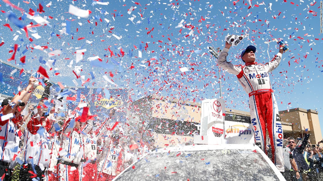 Kevin Harvick and his crew celebrate in victory lane after winning the NASCAR Cup Series race in Sonoma, California, on Sunday, June 25. It was Harvick's first win of the season and his first career win at Sonoma Raceway.