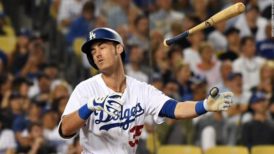 Cody Bellinger, a star rookie on the Los Angeles Dodgers, reacts after a flyout on Thursday, June 22. He's already hit 24 home runs this season.