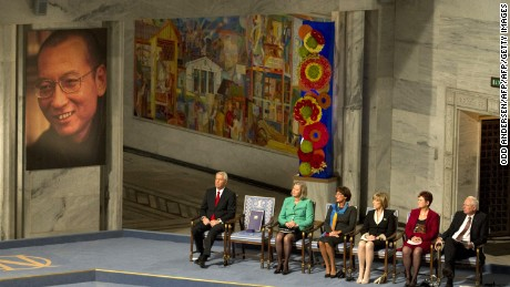 The Nobel Peace Prize committee attends the ceremony for Liu at the city hall in Oslo, Norway, on Dec. 10, 2010.