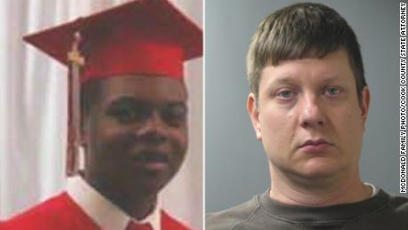 Laquan McDonald on left and Jason Van Dyke, who has pleaded not guilty, on right.