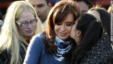 Former Argentinian president(2007-2015) Cristina Kirchner greets supporters during a rally in Buenos Aires on June 20, 2017. Kirchner launched her new Unidad Ciudadana (Citizen Unity) party but maintained suspense over whether or not she will run for the Senate in next October legislative elections. / AFP PHOTO / EITAN ABRAMOVICH        (Photo credit should read EITAN ABRAMOVICH/AFP/Getty Images)