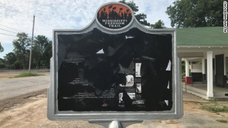 A historical marker outside the grocery store in Mississippi where Emmett Till is said to have whistled at a white woman will have to be repaired after it was damaged by a second instance of vandalism in two months.