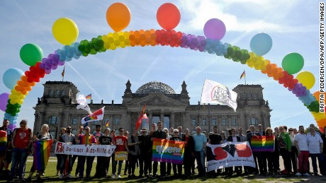 LGBT activists demonstrate outside the German parliament in May 2017.