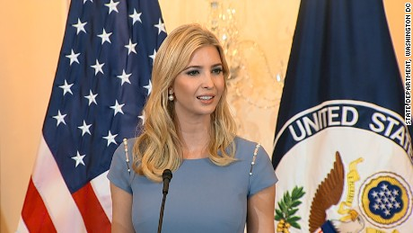 Advisor to the President Ivanka Trump speaks at the unveiling of the Trafficking in Persons Report at the US Department of State.