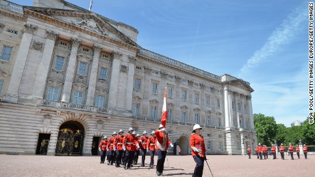 LONDON, ENGLAND - JUNE 26:  Captain Megan Couto (front) of the 2nd Battalion, Princess Patricia's Canadian Light Infantry (PPCLI), makes history as she becomes the first female to command the Queen's Guard at Buckingham Palace on June 26, 2017 in London, England. The PPCLI is taking part in ceremonial duties as the Queen's Guard in the UK, accompanied by the Royal Canadian Artillery Band and is part of the Canadian 150th celebrations. (Photo by John Stillwell - WPA Pool / Getty Images)
