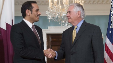 US Secretary of State Rex Tillerson and Qatari Foreign Minister Mohammed bin Abdulrahman al-Thani shake hands prior to a meeting at the State Department in Washington, DC, May 8, 2017. / AFP PHOTO / SAUL LOEB        (Photo credit should read SAUL LOEB/AFP/Getty Images)