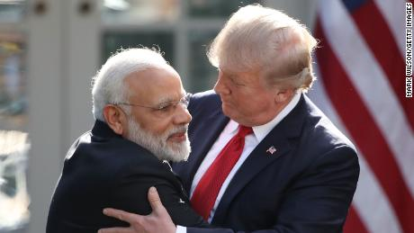 WASHINGTON, DC - JUNE 26: U.S. President Donald Trump and Indian Prime Minister Narendra Modi embrace while delivering joint statements in the Rose Garden of the White House June 26, 2017 in Washington, DC. Trump and Modi met earlier today in the Oval Office to discuss a range of bilateral issues.  (Photo by Mark Wilson/Getty Images)