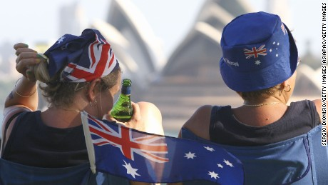 SYDNEY, AUSTRALIA - JANUARY 26:  Two woman enjoy a view of Sydney's Opera house as part of celebrations for Australia Day  on January 26, 2011 in Sydney, Australia. Australia Day, formerly known as Foundation Day, is the official national day of Australia and is celebrated annually on January 26 to commemorate the arrival of the First Fleet to Sydney in 1788.  (Photo by Sergio Dionisio/Getty Images)