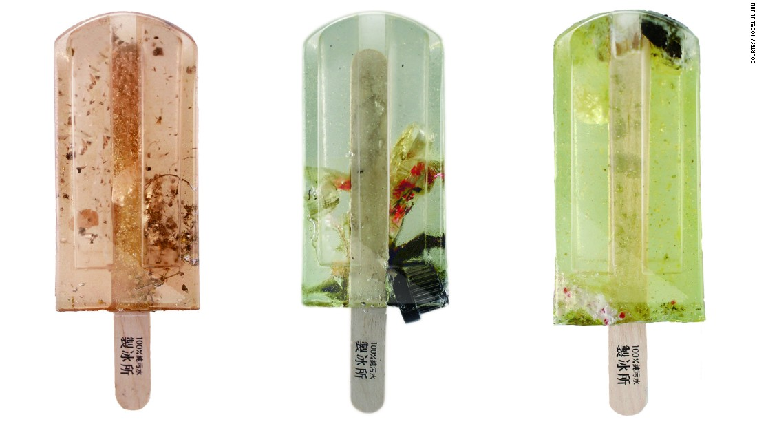 Do not eat! These popsicles are made of polluted water -- including some vaguely identified chunks. They were created by three design students as part of their graduation project in Taiwan, to highlight the high level of pollution in their local water systems.