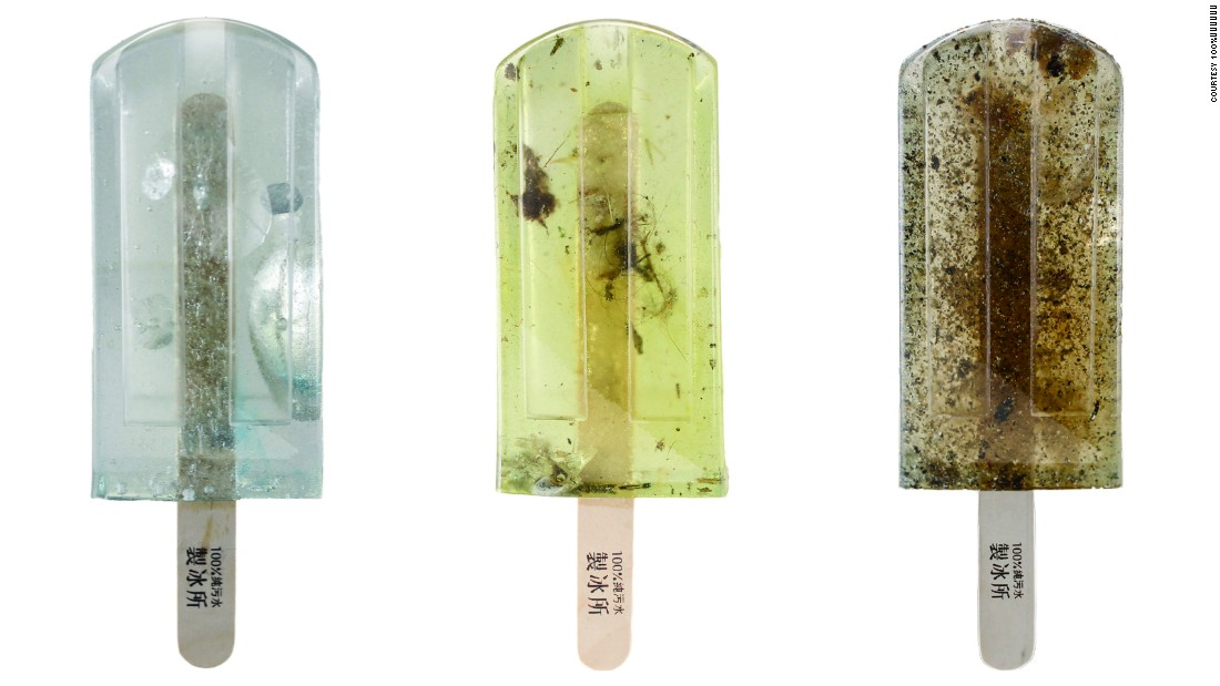 Along with suspiciously colored waters (due to waste oil and industrial dye), the popsicles contain bugs, dirt, dead fish, cigarette butts, nets, oil and plastic waste in various forms, such as wrappers, bottle caps and packaging.