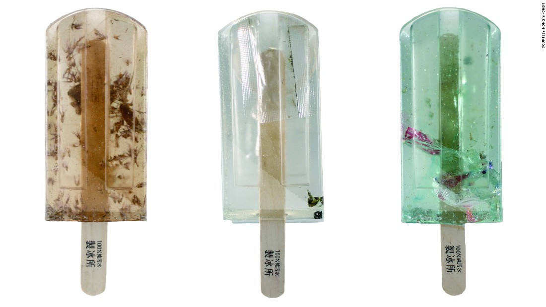 The students -- Hong Yi-chen, Guo Yi-hui, and Zheng Yu-di of the National Taiwan University of the Arts -- collected water samples from various locations in Taiwan and then froze them into popsicles. They later created resin replicas of the results, photographed here.