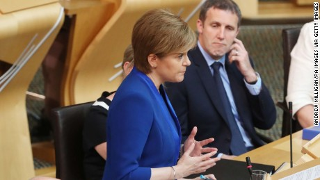 First Minister Nicola Sturgeon at the Scottish Parliament in Edinburgh, where she set out her position on a second independence referendum. (Photo by Andrew Milligan/PA Images via Getty Images)