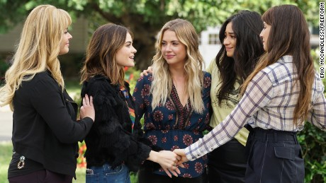 "Sasha Pieterse, Lucy Hale, Ashley Benson, Shay Mitchell, and Troian Bellisario, in the series finale of ""Pretty Little Liars."""
