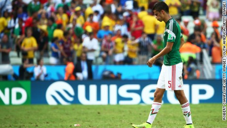 FORTALEZA, BRAZIL - JUNE 29:  Diego Reyes of Mexico looks dejected after being defeated by the  Netherlands in the 2014 FIFA World Cup Brazil Round of 16 match between Netherlands and Mexico at Castelao on June 29, 2014 in Fortaleza, Brazil.  (Photo by Robert Cianflone/Getty Images)