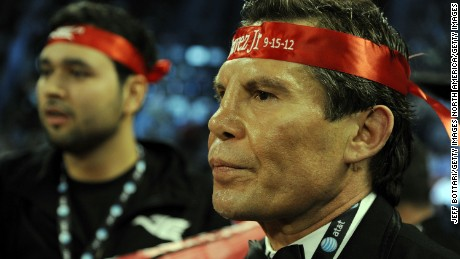 LAS VEGAS, NV - SEPTEMBER 15: Julio Cesar Chavez Sr. awaits the fight decision in the corner of Julio Cesar Chavez Jr. after the fight against Sergio Martinez for their WBC middleweight title fight at the Thomas & Mack Center on September 15, 2012 in Las Vegas, Nevada.  (Photo by Jeff Bottari/Getty Images)