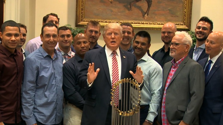 Trump touts health care surprise at Cubs event