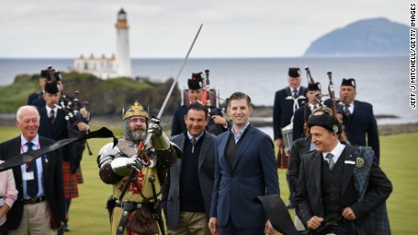 TURNBERRY, SCOTLAND - JUNE 28:  Eric Trump and his wife Lara attend the ceremonial ribbon cutting at Trump Turnberry's new golf course the King Robert The Bruce course on June 28, 2017 in Turnberry, Scotland. Formerly the Kintyre Course, it has been redesigned and upgraded and forms the second course to the acclaimed championship Ailsa course.  (Photo by Jeff J Mitchell/Getty Images)