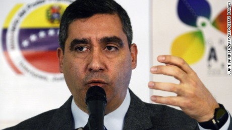 Venezuela's Interior and Justice Minister Miguel Rodriguez Torres speaks during a press conference in Caracas on May 2, 2014. Rodriguez accused the United States of being organizing a revolting plan against Venezuela, a conspiracy which would include opposition politicians, businessmen, bankers, student leaders and US lawmakers.    AFP PHOTO / JUAN BARRETO        (Photo credit should read JUAN BARRETO/AFP/Getty Images)