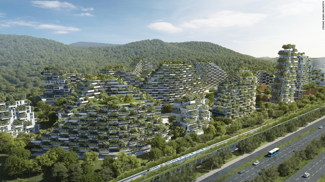 Liuzhou Forest City will be covered with 40,000 trees and almost one million plants of over 100 varieties.