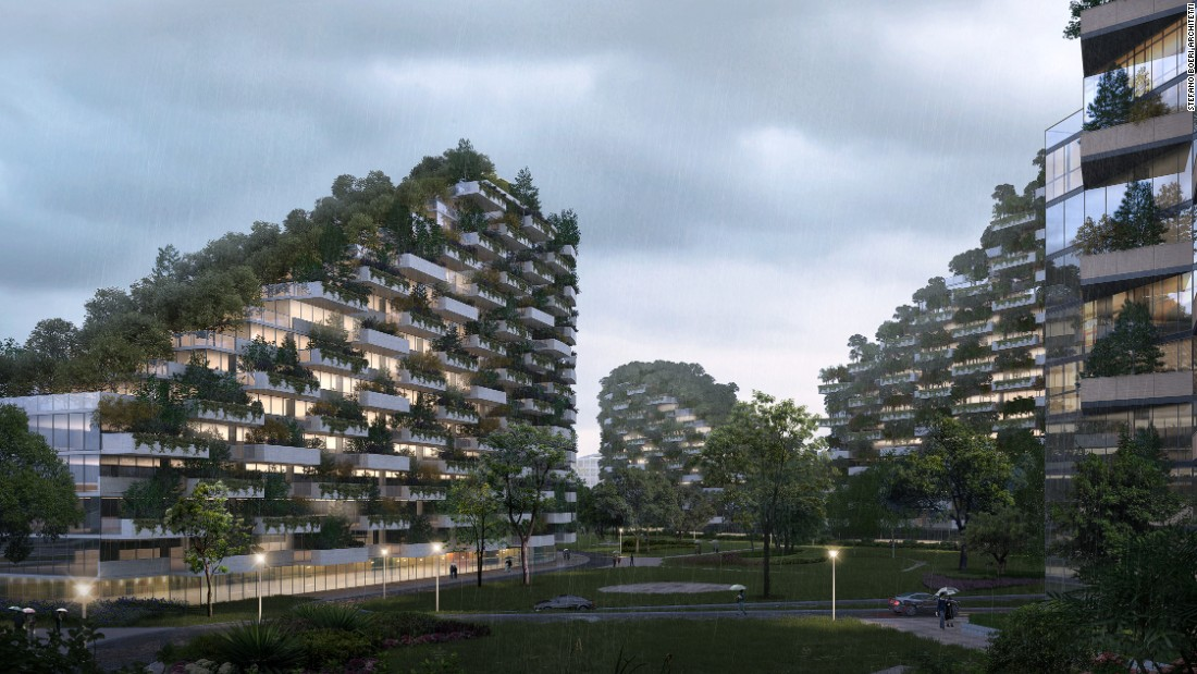 This neighborhood of offices, houses, hospitals and schools will be entirely covered by plants. Construction is set to begin in 2020.