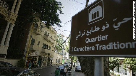 "A sign indicating ""A street with traditional character"" is seen in a Beirut neighbourhood."