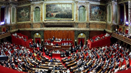 French deputies and senators attend a special congress of both houses of Parliament at the Versailles Palace.