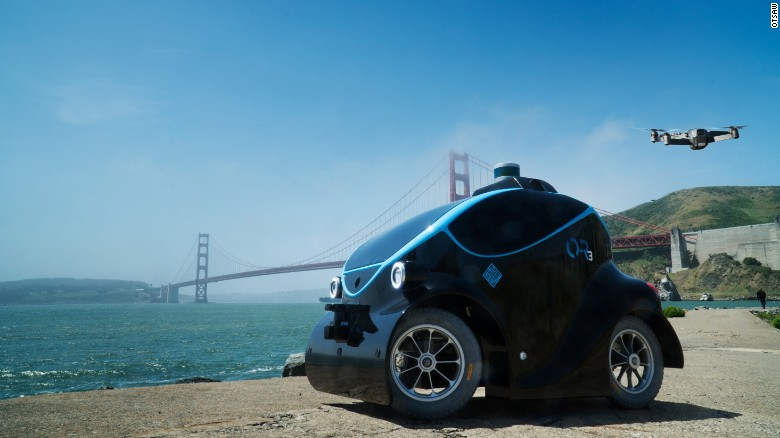 The O-R3 by Singaporean manufacturer OTSAW on display next to the Golden Gate Bridge, San Francisco. Dubai Police have ordered their first unit, set to hit the streets before the end of the year. The ground unit houses a drone, the two working together as a surveillance and tracking solution. The manufacturer told CNN Dubai Police have agreed in principal to lease up to 100 units by 2020.