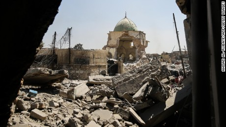 A picture taken on June 29, 2017, shows the destroyed Al-Nuri Mosque in the Old City of Mosul, during the ongoing offensive to retake the area from Islamic State (IS) group fighters. / AFP PHOTO / AHMAD AL-RUBAYE        (Photo credit should read AHMAD AL-RUBAYE/AFP/Getty Images)