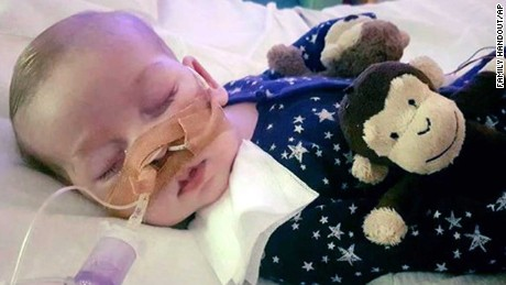 This is an undated hand out photo of Charlie Gard provided by his family, at Great Ormond Street Hospital, in London. The parents of a terminally-ill baby boy lost the final stage of their legal battle on Tuesday, June27, 2017 to take him out of a British hospital to receive treatment in the U.S., after a European court agreed with previous rulings that the baby should be taken off life support. (Family of Charlie Gard via AP)