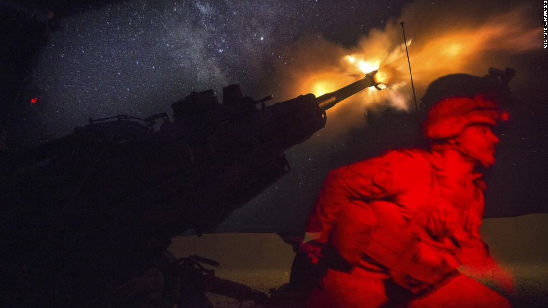 A Marine fires an M777A2 howitzer in the early morning in Syria, Saturday, June 3. Marines have been conducting 24-hour all-weather fire support for the coalition's local partners, the Syrian Democratic Forces. It's to support Combined Joint Task Force Operation Inherent Resolve. Marine Corps photo by Sgt. Matthew Callahan.