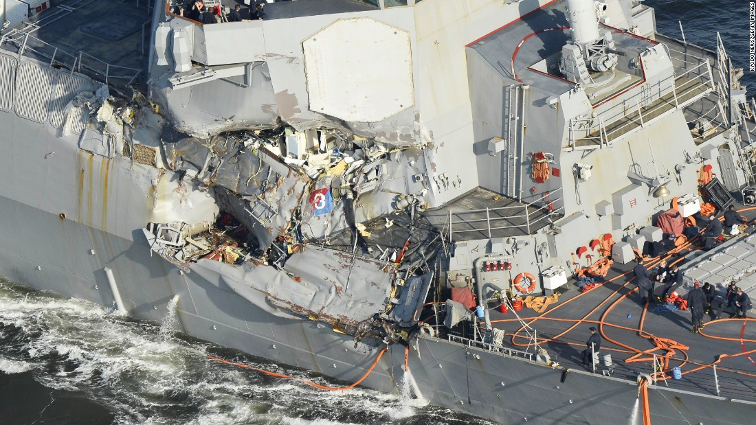 A Kyodo News helicopter shows the damaged part of the U.S. Navy's guided-missile destroyer, the USS Fitzgerald, which collided with a Filipino container vessel off Yokosuka, south of Tokyo. The accident has left seven crew members of the destroyer unaccounted for and three injured.