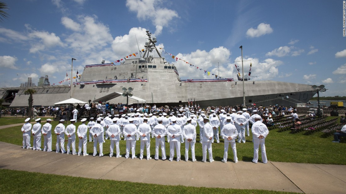 The crew of the USS Gabrielle Giffords stands at the ready prior to the commissioning ceremony on Saturday, June 10, in Galveston, Texas. The U.S. Navy commissioned the warship, which is named for former Rep. Gabrielle Giffords (D-AZ.), a gun violence survivor. It's the third Navy ship ever to be named after a living woman.
