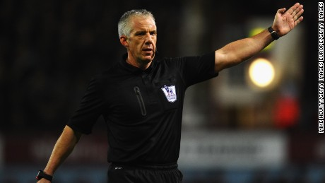 LONDON, ENGLAND - NOVEMBER 23:  Referee Chris Foy in action during the Barclays Premier League match between West Ham United and Chelsea at Boleyn Ground on November 23, 2013 in London, England.  (Photo by Mike Hewitt/Getty Images)