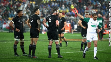 Sonny Bill Williams receives a red card for a shoulder charge on winger Antony Watson