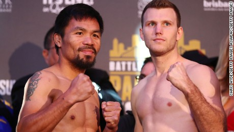 Manny Pacquiao and Jeff Horn at their weigh in ahead of the WBO title fight at Suncorp Stadium in early July.