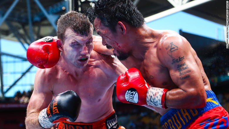 "Horn and Pacquiao clash in a fight dubbed the ""Battle of Brisbane."""