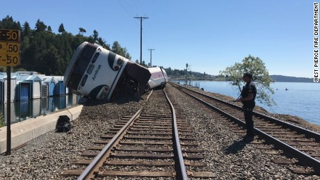 An Amtrak train derailed in Tacoma, Washington, on Sunday afternoon. Authorities say four cars derailed and there were minor injuries.