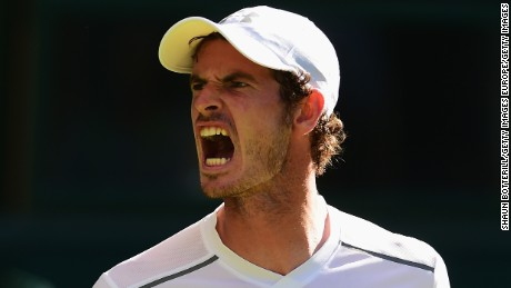 LONDON, ENGLAND - JUNE 30:  Andy Murray of Great Britain reacts in his Gentlemens Singles first round match against Mikhail Kukushkin of Kazakhstan during day two of the Wimbledon Lawn Tennis Championships at the All England Lawn Tennis and Croquet Club on June 30, 2015 in London, England.  (Photo by Shaun Botterill/Getty Images)