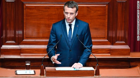 French President Emmanuel Macron speaks during a special congress gathering both houses of parliament (National Assembly and Senate) in the palace of Versailles, outside Paris, on July 3, 2017. Lawmakers from the two houses are usually called together only in times of national crisis, but Macron has convened the session, which he plans to make an annual event, to lay out his vision and priorities two months after his election. / AFP PHOTO / POOL / Eric FEFERBERG        (Photo credit should read ERIC FEFERBERG/AFP/Getty Images)