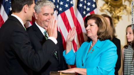 Speaker of the House Paul Ryan, R-Wisc., conducts a ceremonial swearing in of Rep. Karen Handel, R-Ga., in the Capitol on Monday, June 26.
