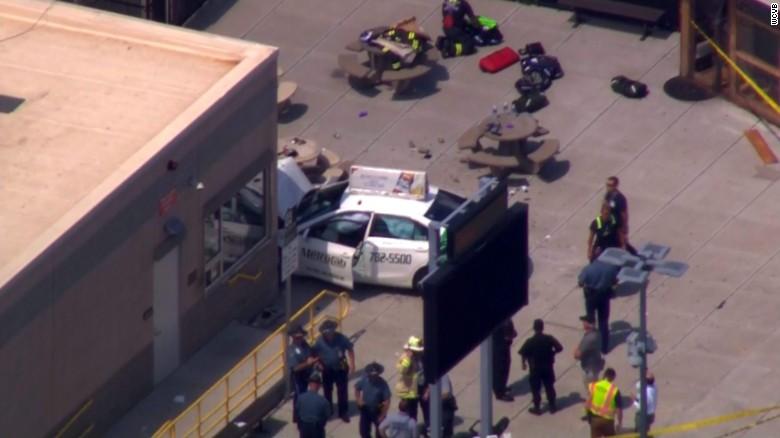 Taxi strikes pedestrians near Boston airport; several injured