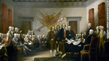 UNSPECIFIED - CIRCA 1754: John Trumbull's painting, Declaration of Independence, depicting the five-man drafting committee of the Declaration of Independence presenting their work to the Congress. The painting can be found on the back of the U.S. $2 bill. The original hangs in the US Capitol rotunda. (Photo by Universal History Archive/Getty Images)